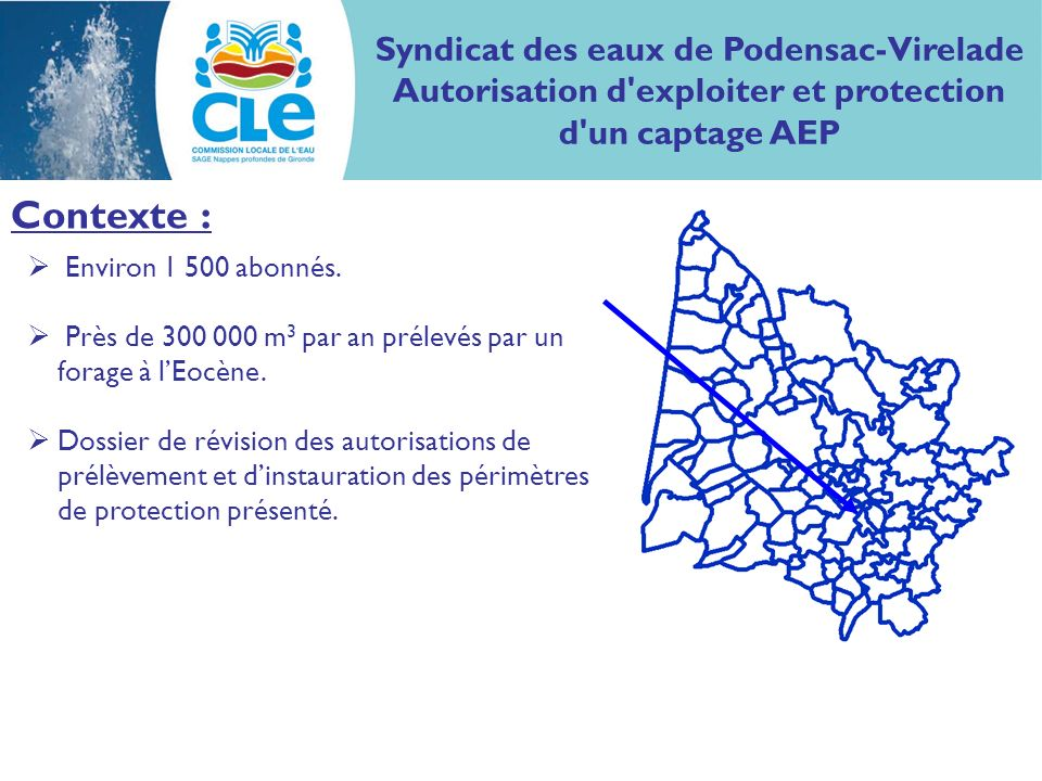 Contexte : Syndicat des eaux de Podensac-Virelade