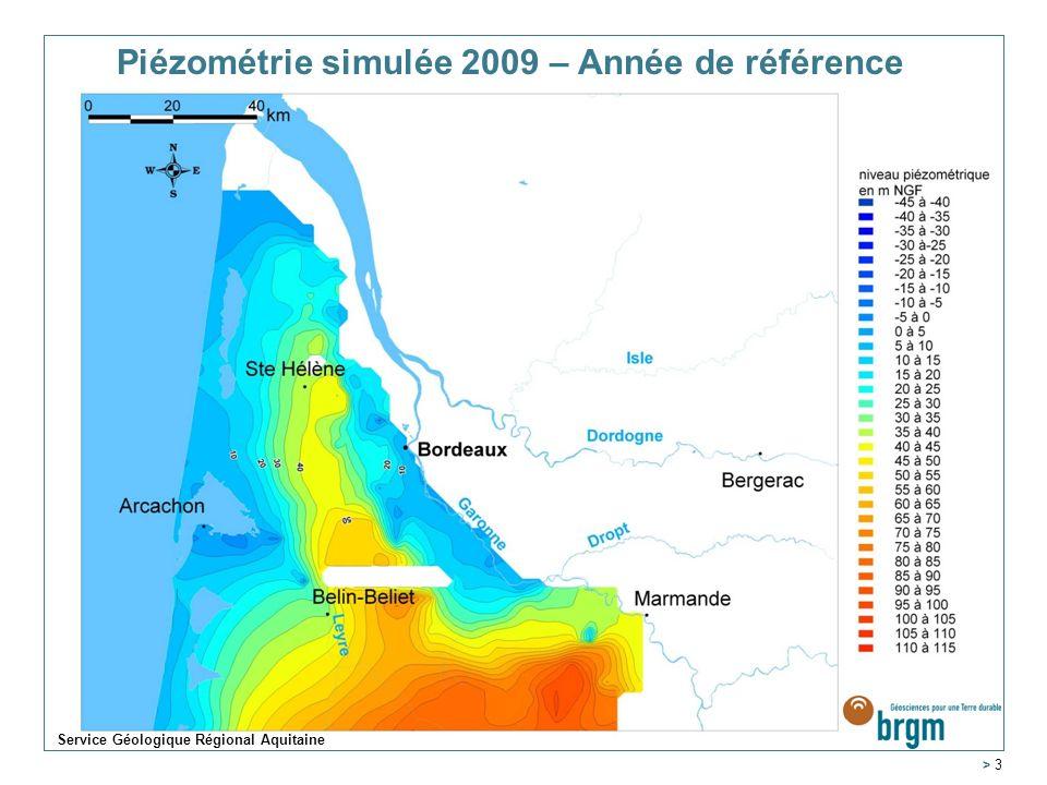 Piézométrie simulée 2009 – Année de référence