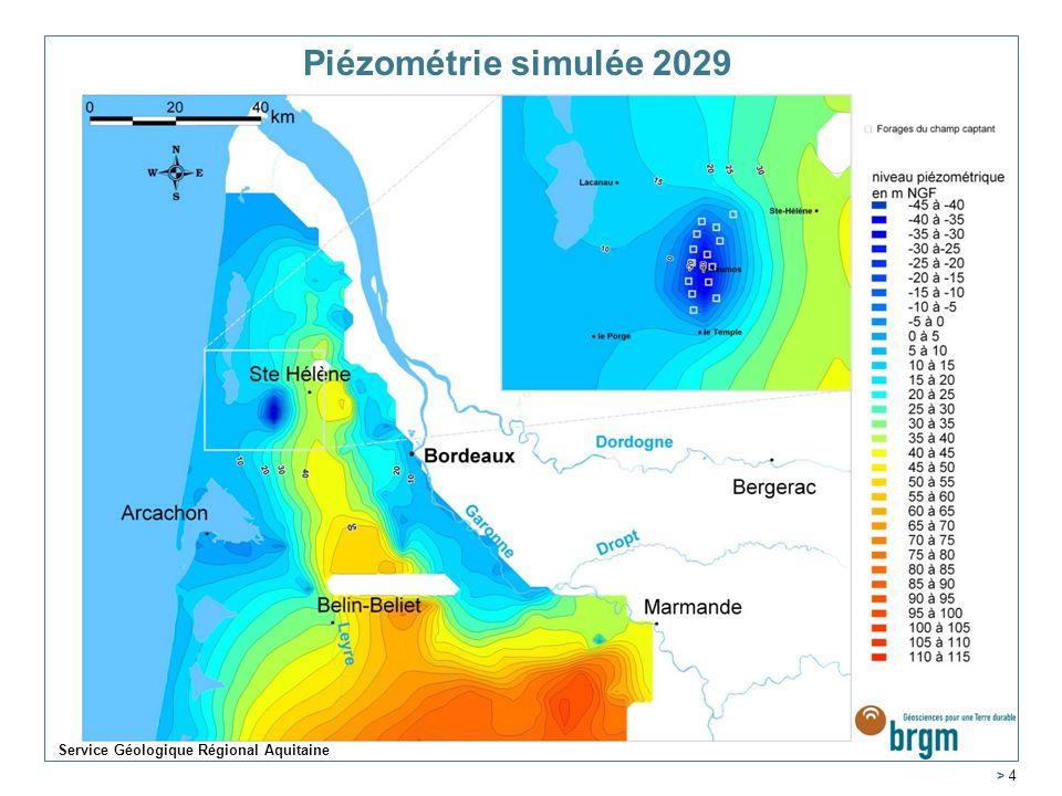 Piézométrie simulée 2029 Service Géologique Régional Aquitaine