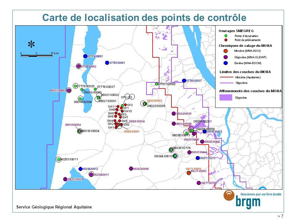 Carte de localisation des points de contrôle