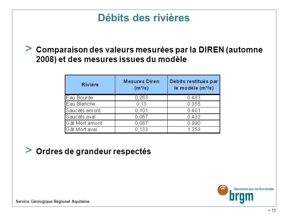 Débits des rivières Comparaison des valeurs mesurées par la DIREN (automne 2008) et des mesures issues du modèle.