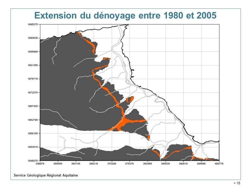 Extension du dénoyage entre 1980 et 2005