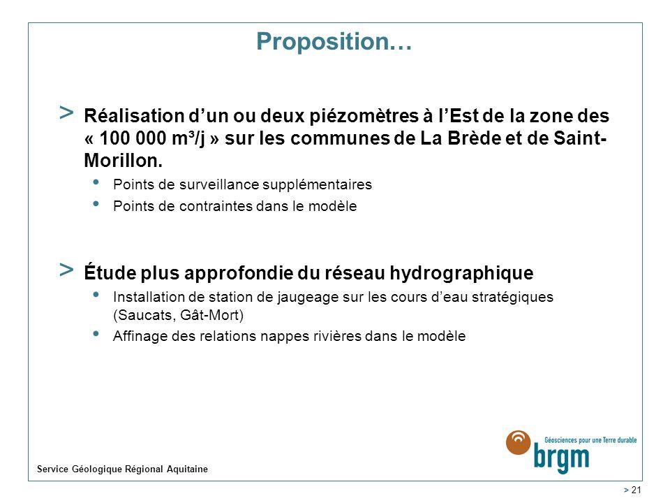 Proposition…Réalisation d'un ou deux piézomètres à l'Est de la zone des « 100 000 m³/j » sur les communes de La Brède et de Saint-Morillon.