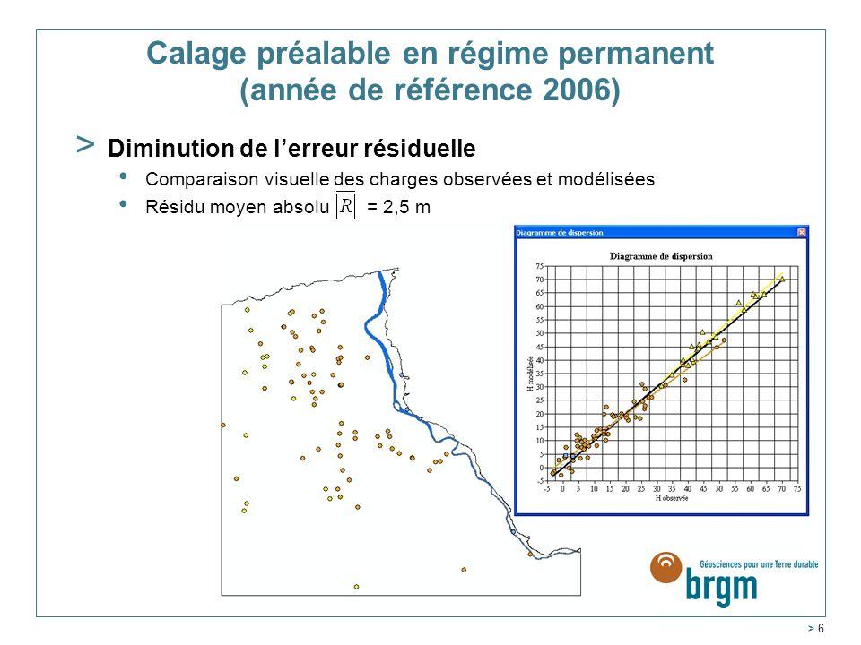 Calage préalable en régime permanent (année de référence 2006)