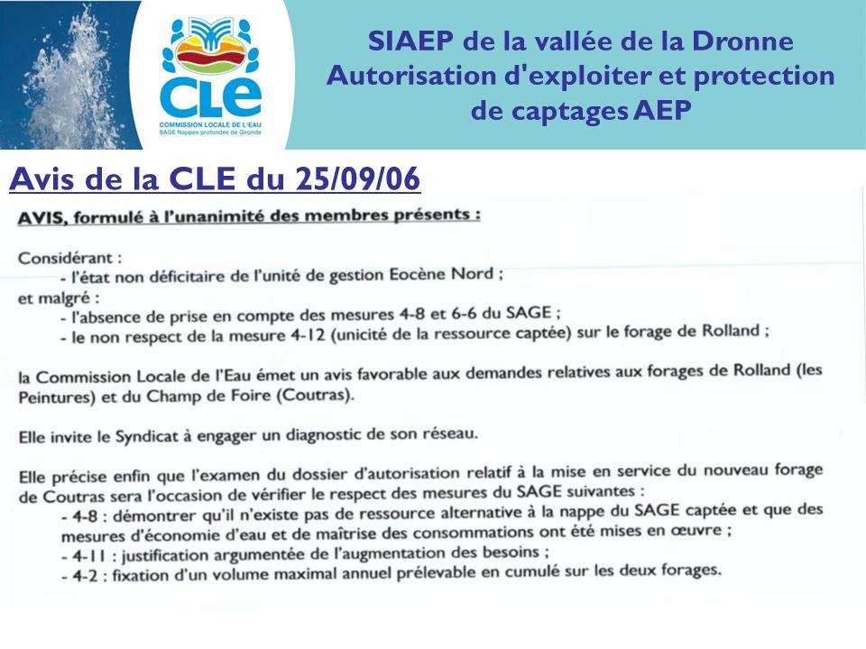 SIAEP de la vallée de la Dronne Autorisation d exploiter et protection