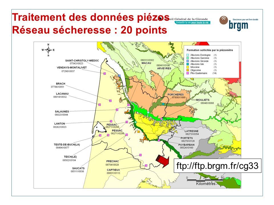 Traitement des données piézos Réseau sécheresse : 20 points