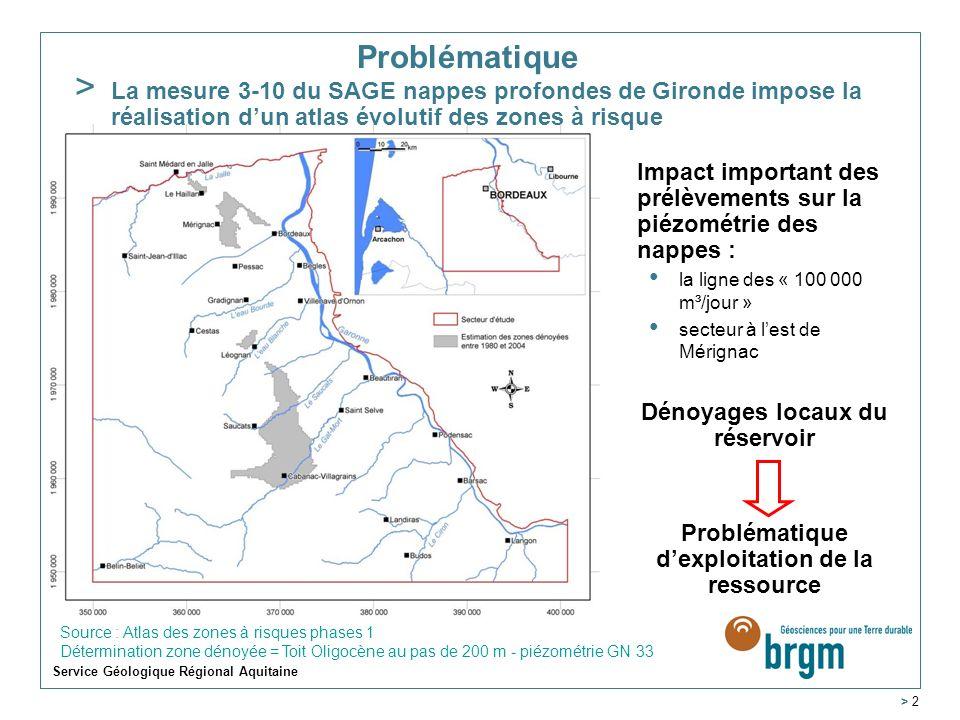 Problématique. La mesure 3-10 du SAGE nappes profondes de Gironde impose la réalisation d'un atlas évolutif des zones à risque.