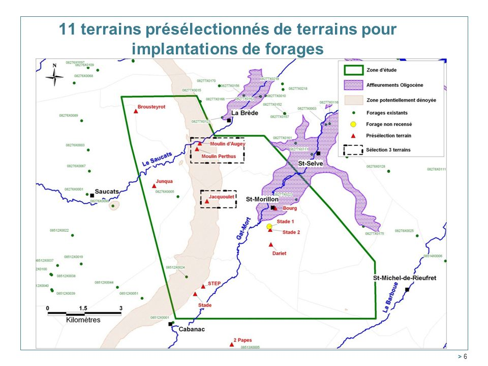 11 terrains présélectionnés de terrains pour implantations de forages