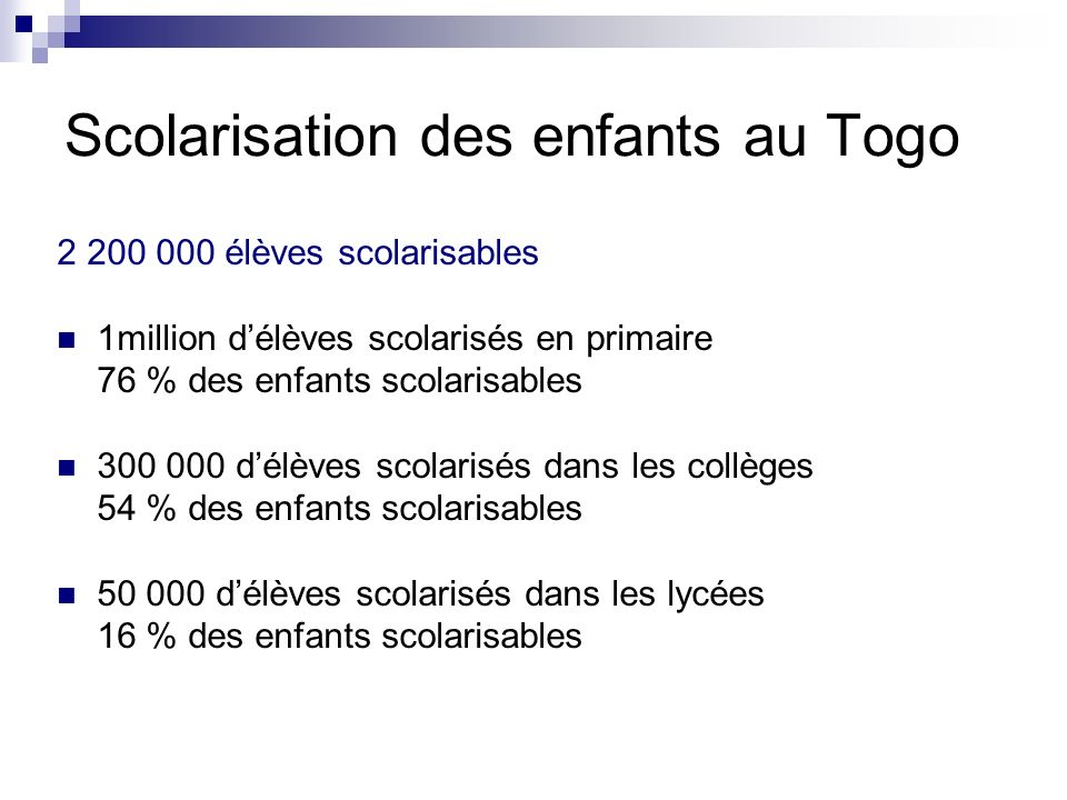 Scolarisation des enfants au Togo