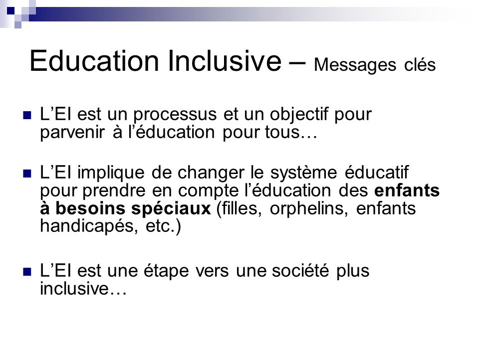 Education Inclusive – Messages clés