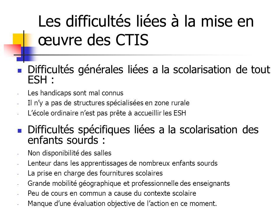 Les difficultés liées à la mise en œuvre des CTIS
