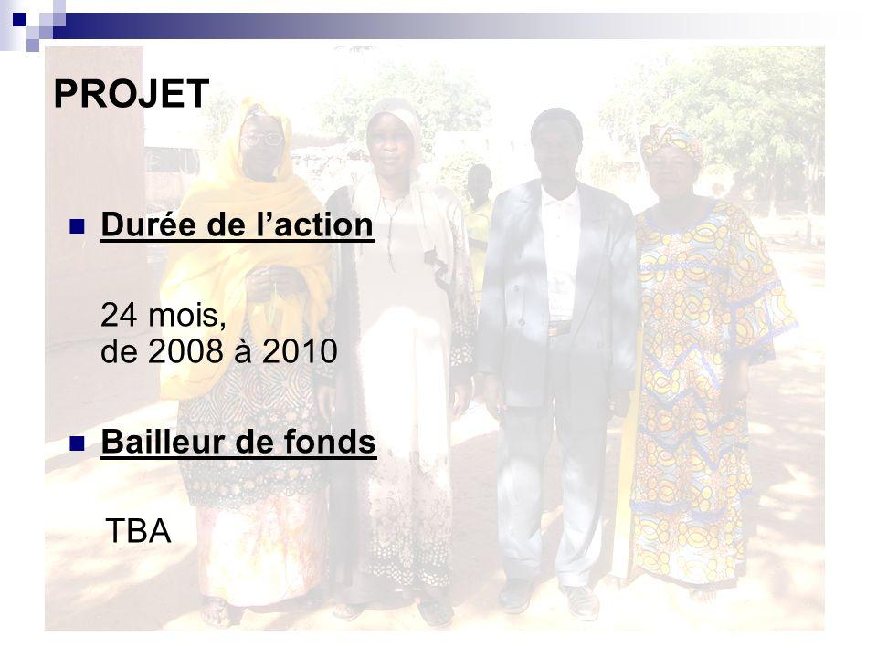 PROJET Durée de l'action 24 mois, de 2008 à 2010 Bailleur de fonds TBA