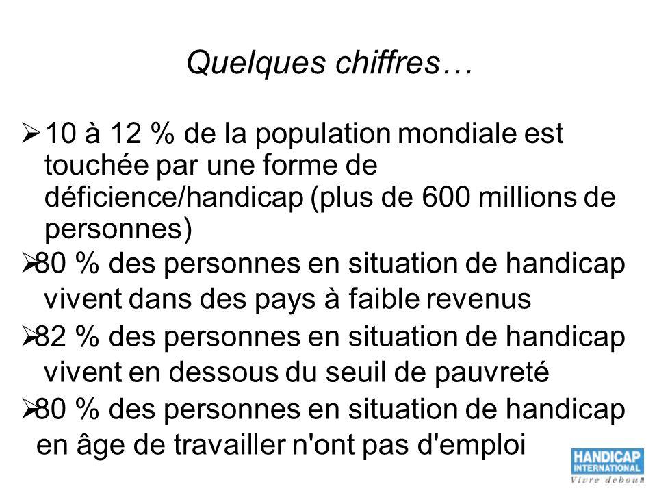 Quelques chiffres… 10 à 12 % de la population mondiale est touchée par une forme de déficience/handicap (plus de 600 millions de personnes)