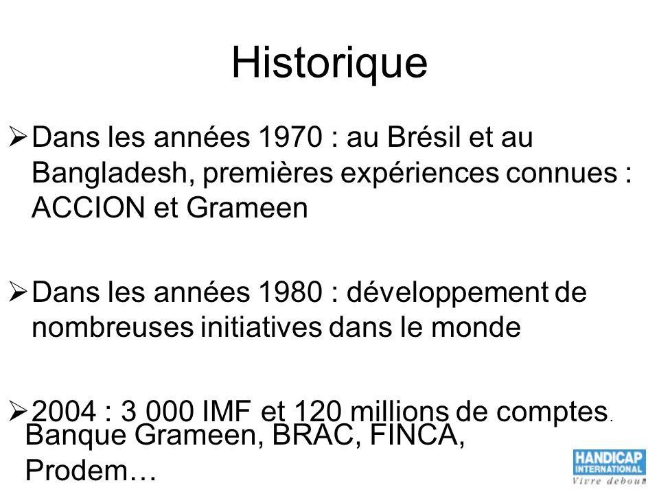 Historique Dans les années 1970 : au Brésil et au Bangladesh, premières expériences connues : ACCION et Grameen.