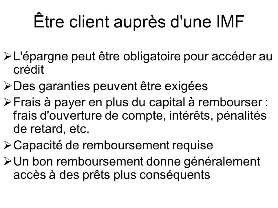 Être client auprès d une IMF