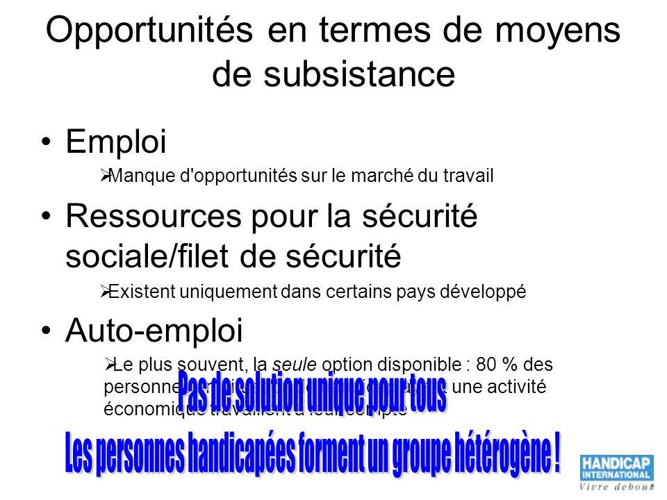 Opportunités en termes de moyens de subsistance