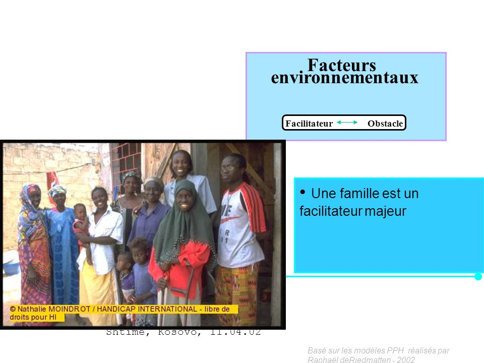 Facteurs environnementaux Facilitateur Obstacle