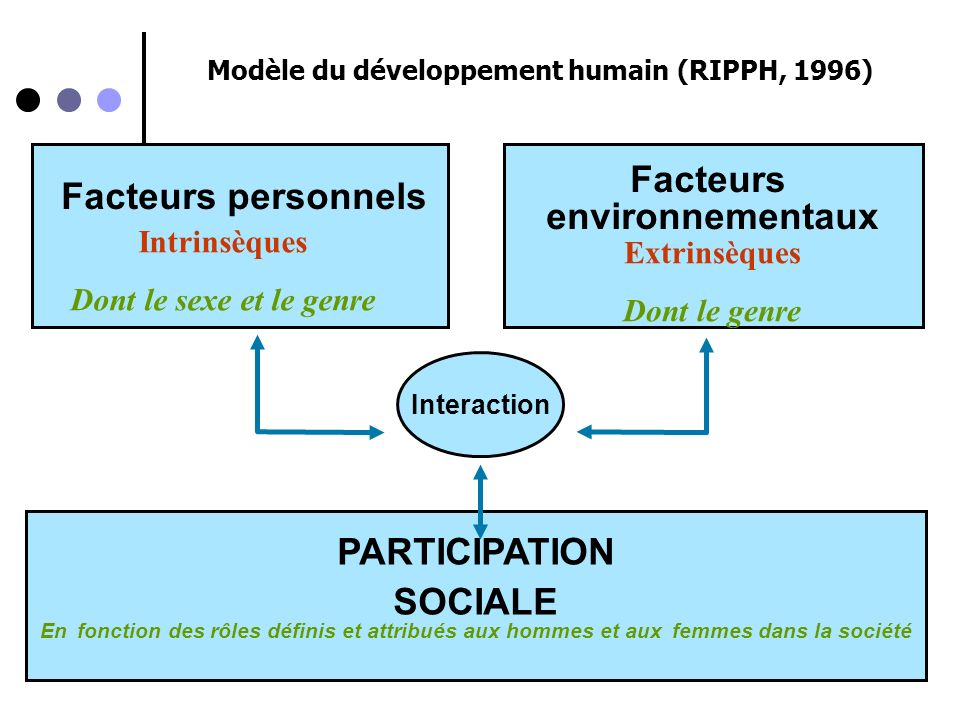 Facteurs personnels Facteurs environnementaux PARTICIPATION SOCIALE