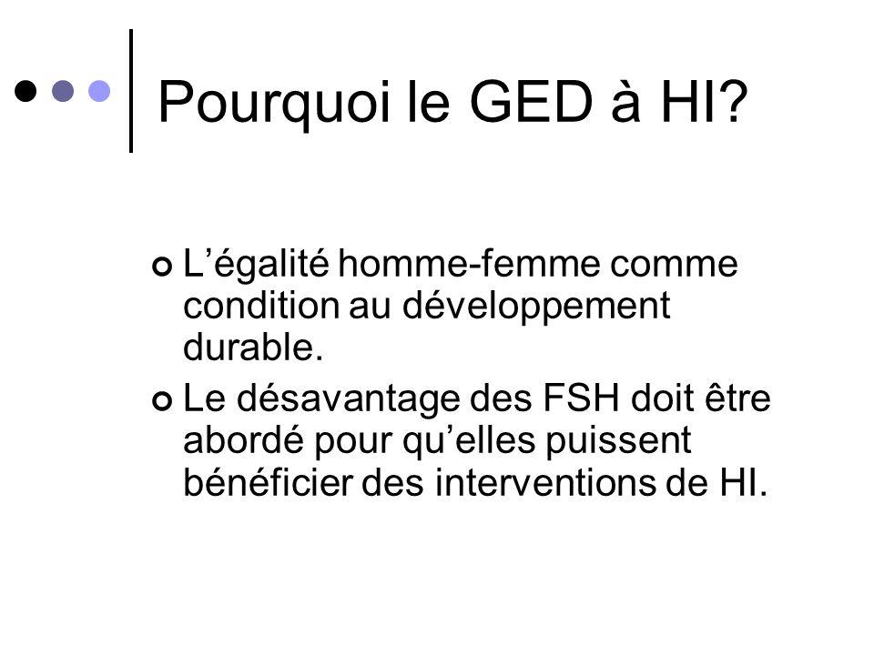 Pourquoi le GED à HI L'égalité homme-femme comme condition au développement durable.