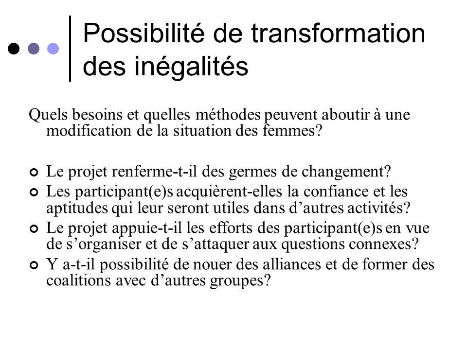 Possibilité de transformation des inégalités
