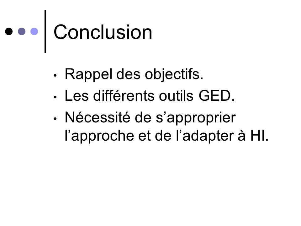 Conclusion Rappel des objectifs. Les différents outils GED.