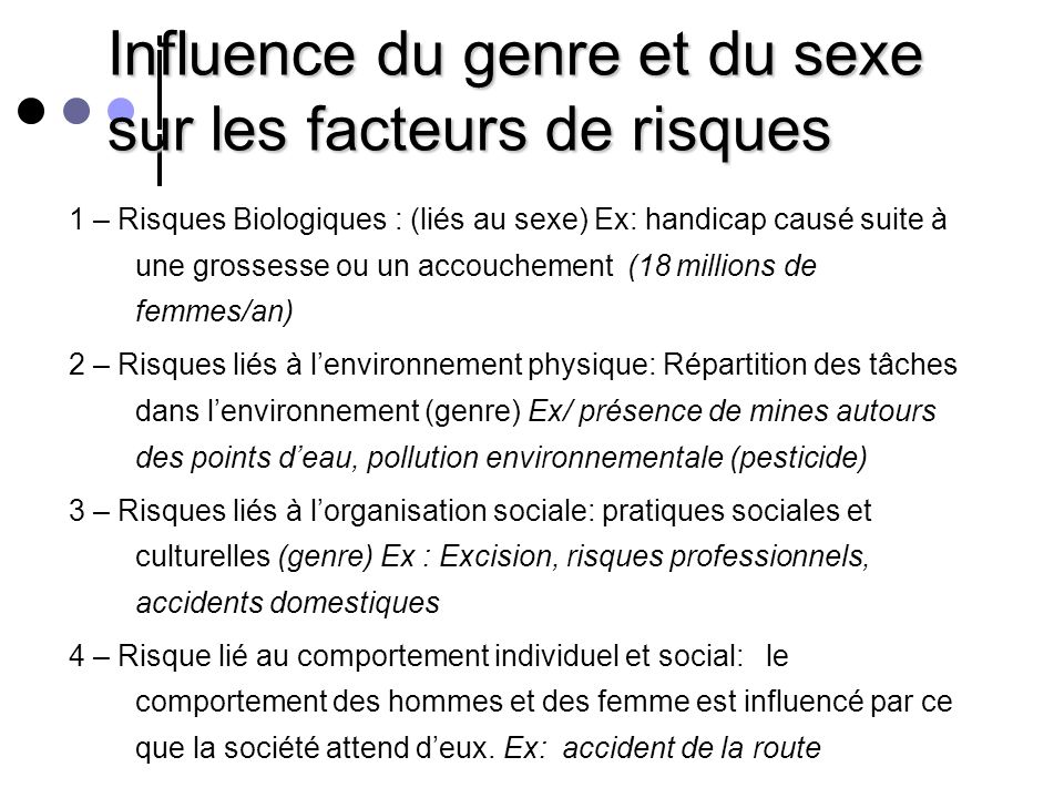 Influence du genre et du sexe sur les facteurs de risques