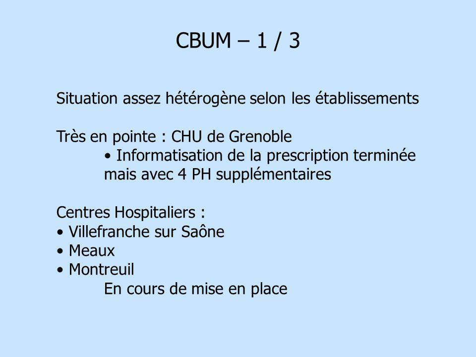CBUM – 1 / 3 Situation assez hétérogène selon les établissements