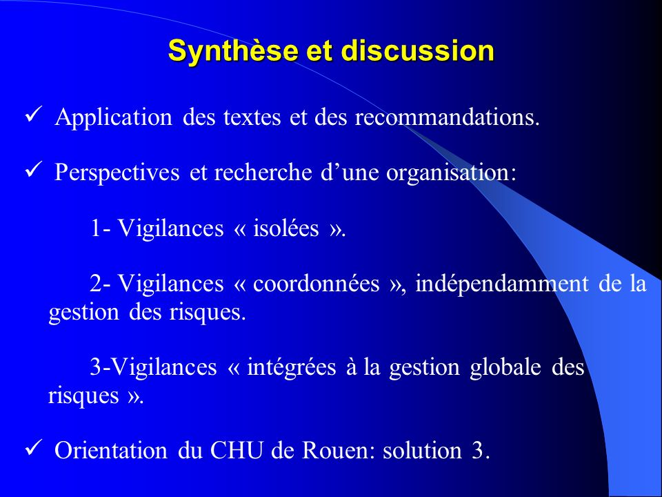 Synthèse et discussion