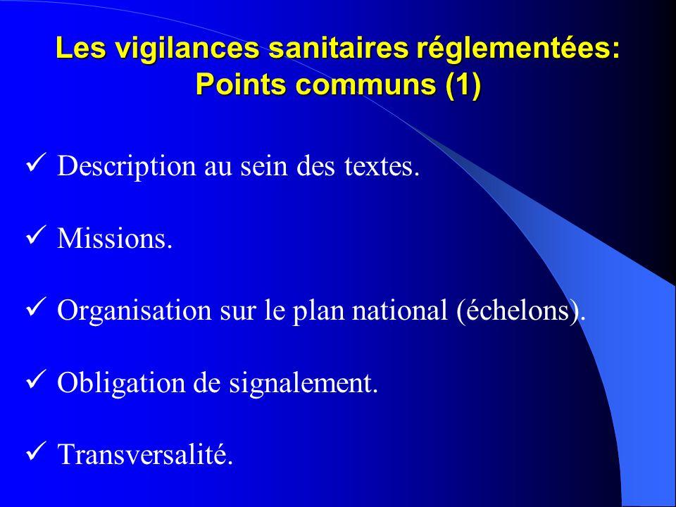 Les vigilances sanitaires réglementées: Points communs (1)