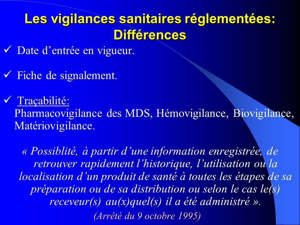 Les vigilances sanitaires réglementées: Différences