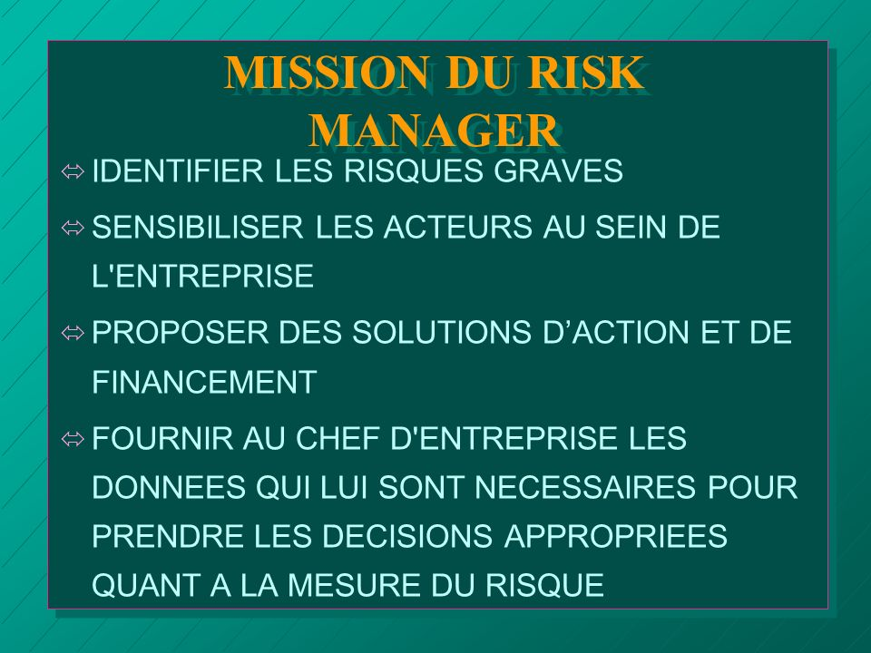 MISSION DU RISK MANAGER