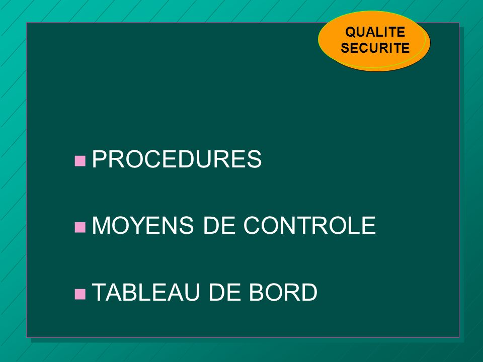 PROCEDURES MOYENS DE CONTROLE TABLEAU DE BORD QUALITE SECURITE