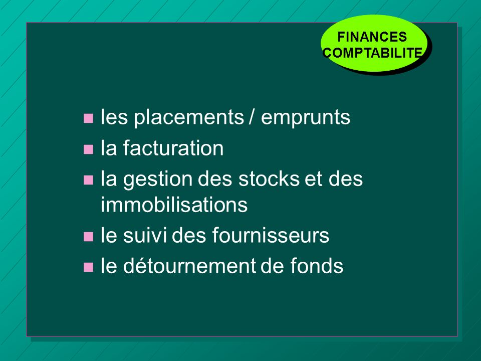 les placements / emprunts la facturation