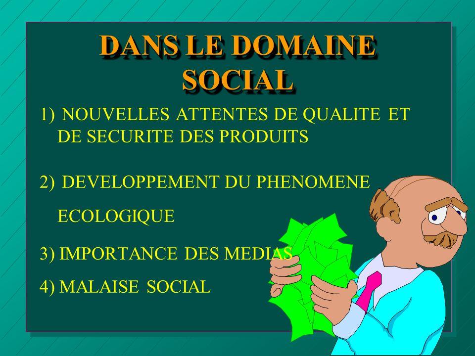 DANS LE DOMAINE SOCIAL 1) NOUVELLES ATTENTES DE QUALITE ET DE SECURITE DES PRODUITS. 2) DEVELOPPEMENT DU PHENOMENE ECOLOGIQUE.
