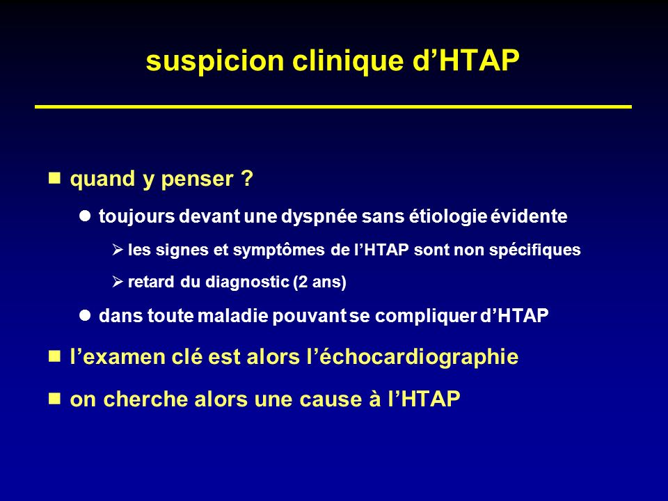 suspicion clinique d'HTAP