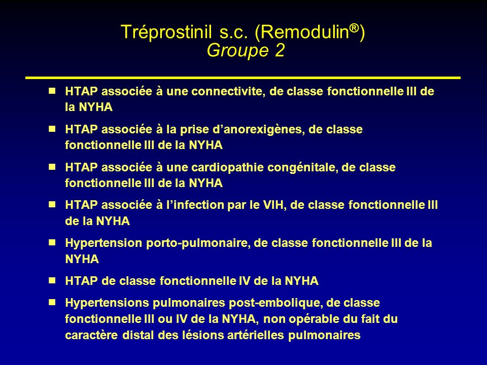 Tréprostinil s.c. (Remodulin®) Groupe 2