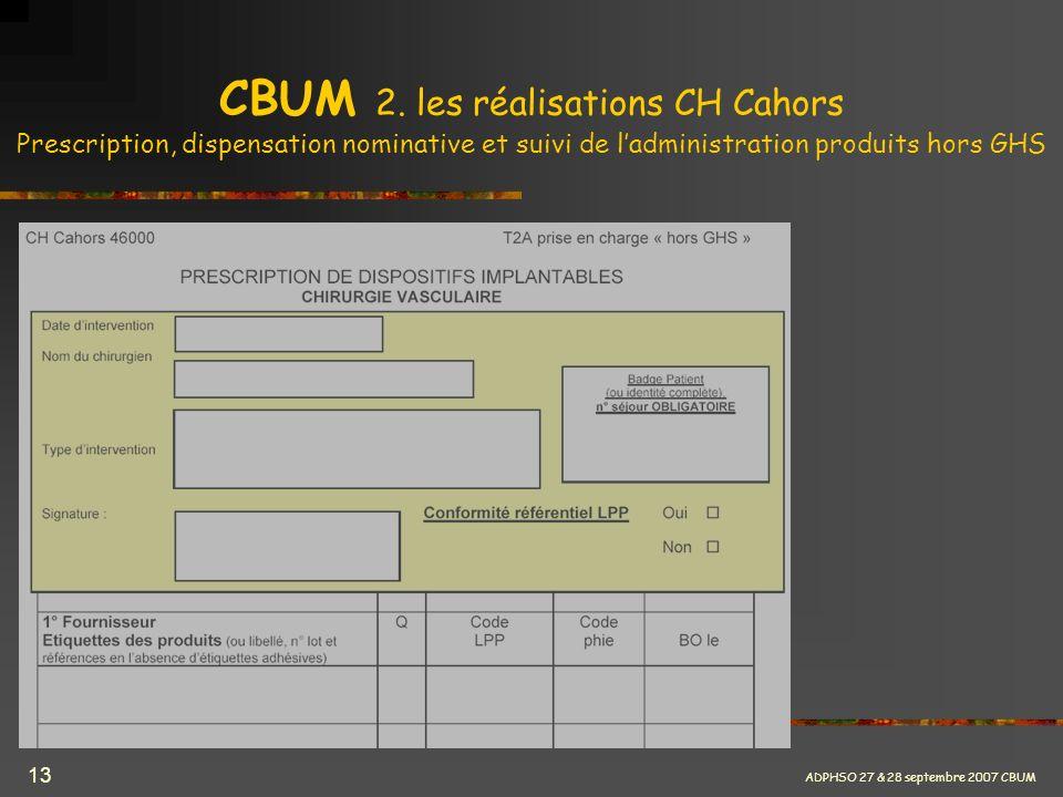 CBUM 2. les réalisations CH Cahors Prescription, dispensation nominative et suivi de l'administration produits hors GHS