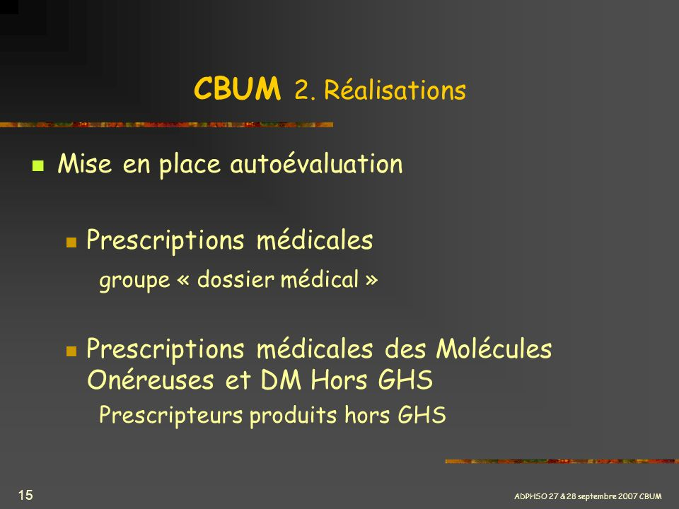 CBUM 2. Réalisations Mise en place autoévaluation