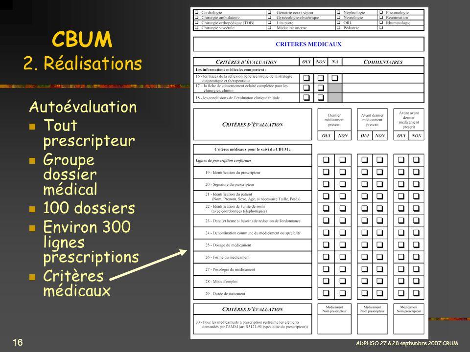 CBUM 2. Réalisations Autoévaluation Tout prescripteur