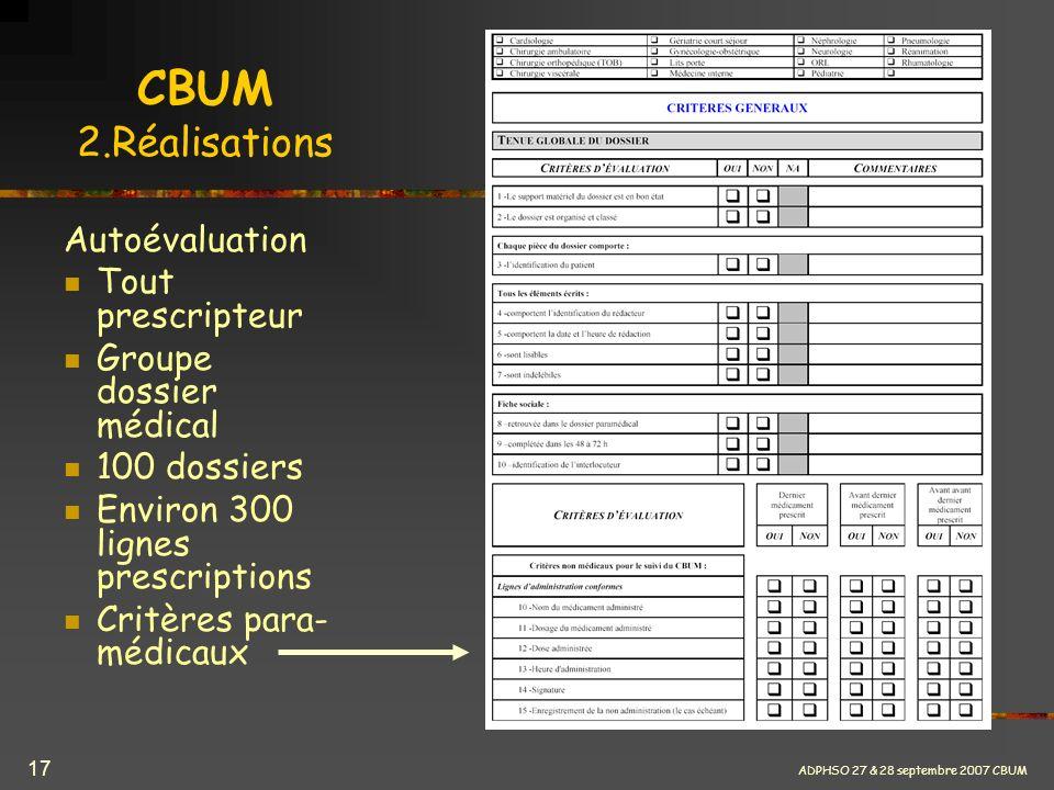 CBUM 2.Réalisations Autoévaluation Tout prescripteur