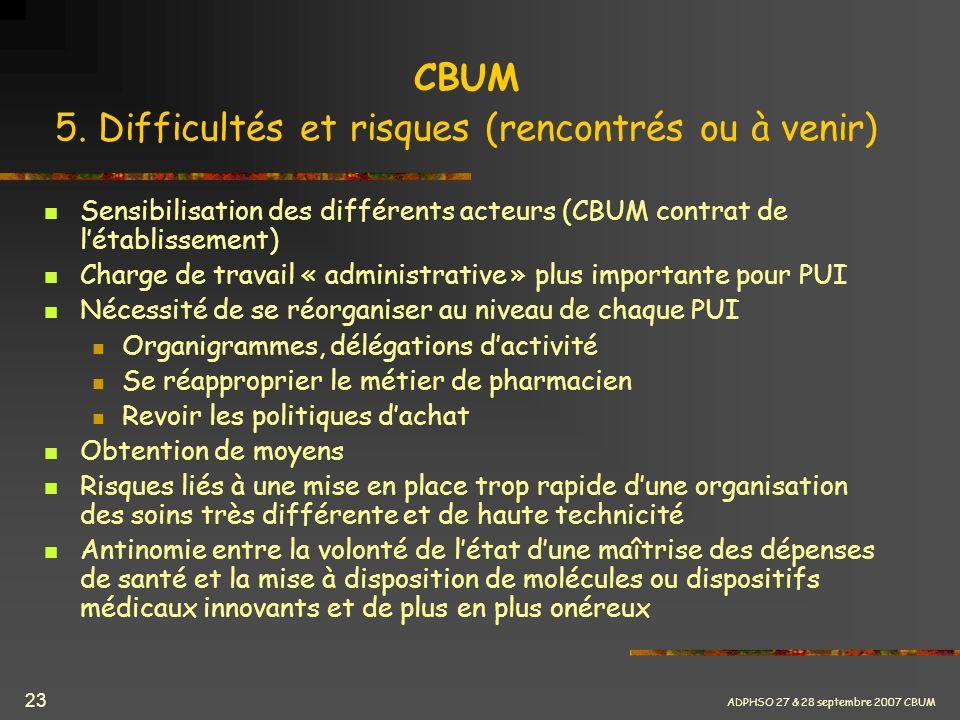 CBUM 5. Difficultés et risques (rencontrés ou à venir)