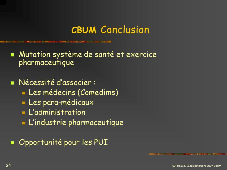 CBUM Conclusion Mutation système de santé et exercice pharmaceutique