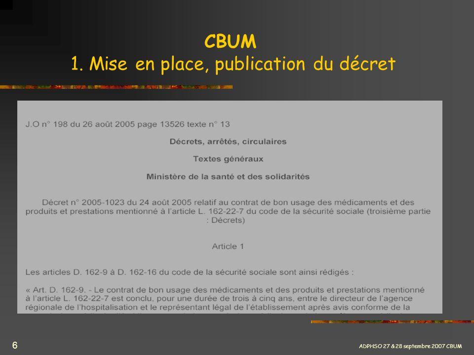CBUM 1. Mise en place, publication du décret
