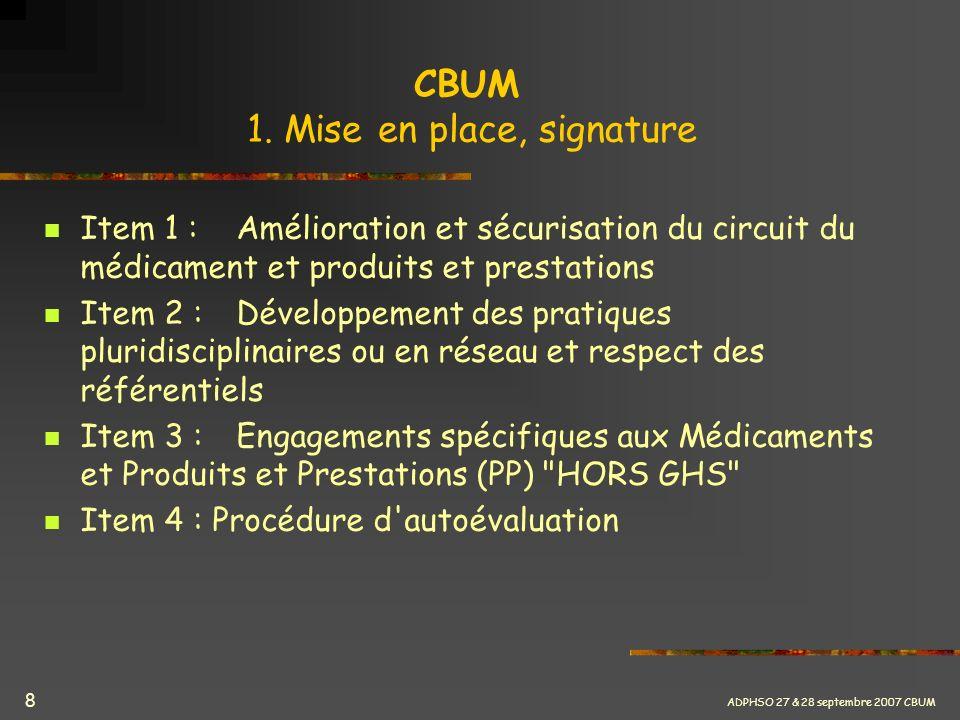 CBUM 1. Mise en place, signature