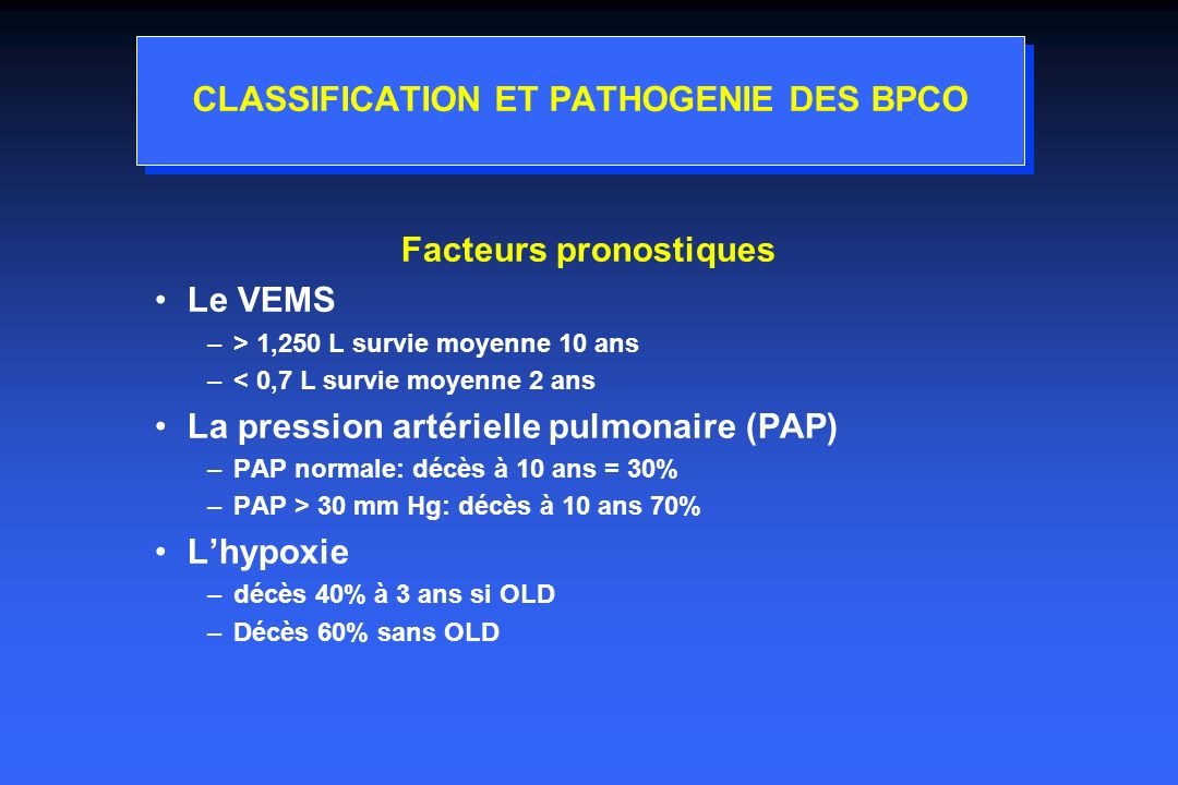CLASSIFICATION ET PATHOGENIE DES BPCO