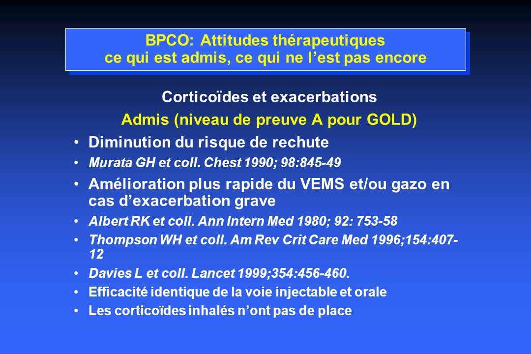 Corticoïdes et exacerbations Admis (niveau de preuve A pour GOLD)