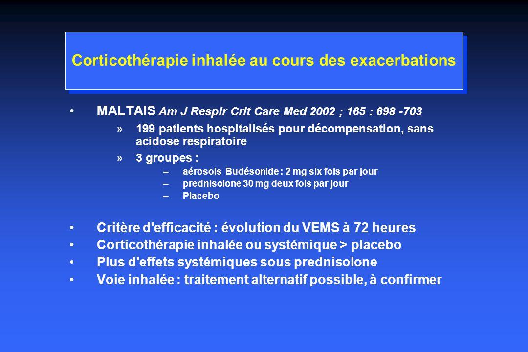 Corticothérapie inhalée au cours des exacerbations