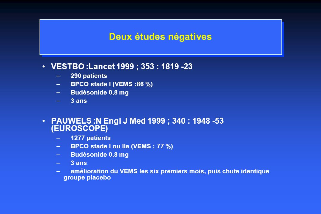 Deux études négatives VESTBO :Lancet 1999 ; 353 : 1819 -23