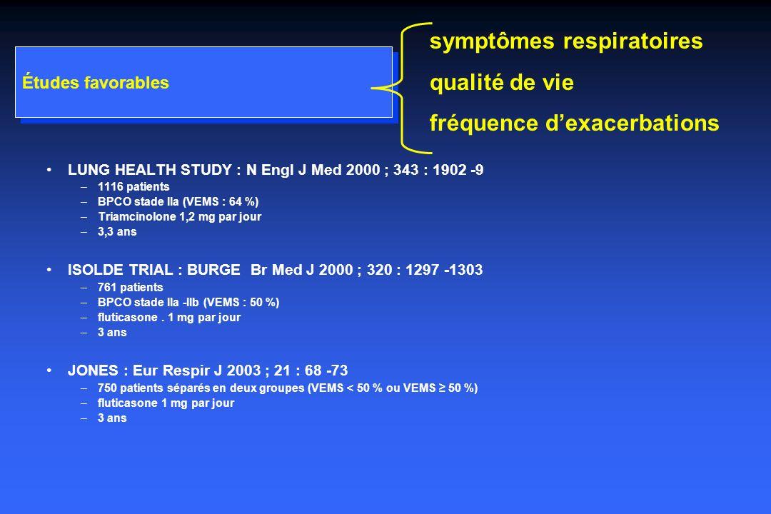 symptômes respiratoires qualité de vie fréquence d'exacerbations