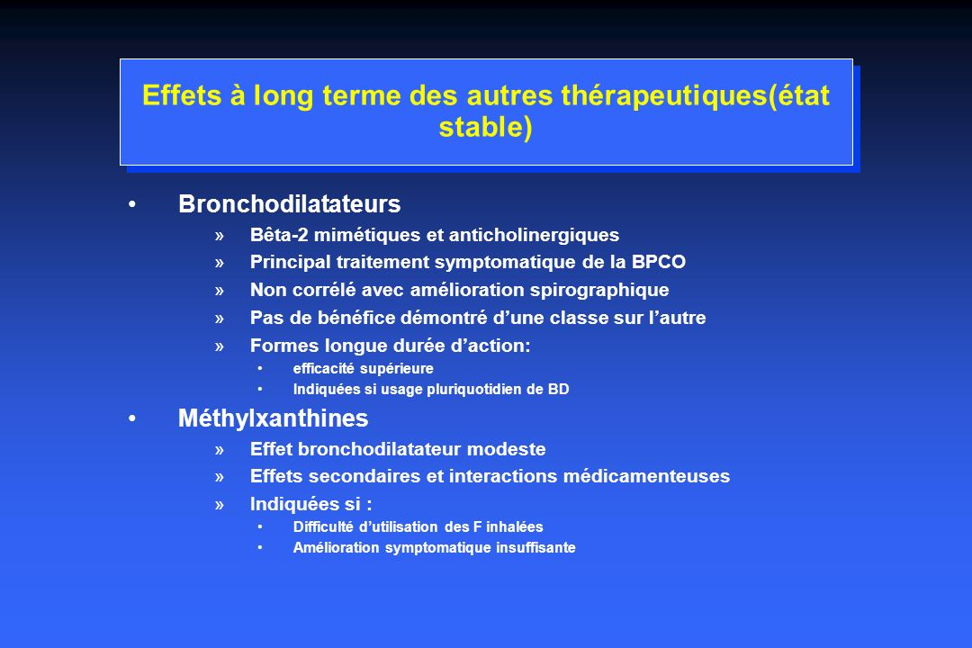 Effets à long terme des autres thérapeutiques(état stable)